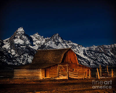 Teton Mountains With Barn Poster