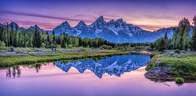 Sunset Teton Reflection Poster