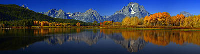 Tetons From Oxbow Bend Poster by Raymond Salani III