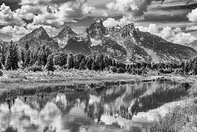 Tetons In Black And White Poster by Mary Hone