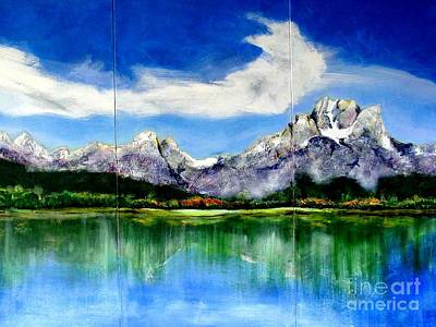 Tetons Jackson Hole Impression Tryptich Poster