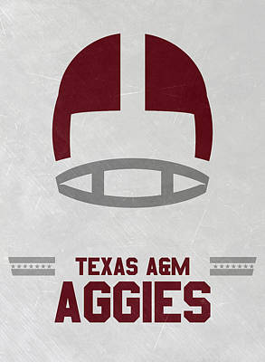 Texas A M Aggies Vintage Football Art Poster