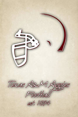Texas Am Aggies Helmet 2 Poster by Joe Hamilton