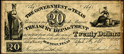Texas Banknote 1838 Poster