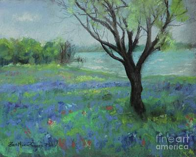 Poster featuring the painting Texas Bluebonnet Trail by Robin Maria Pedrero
