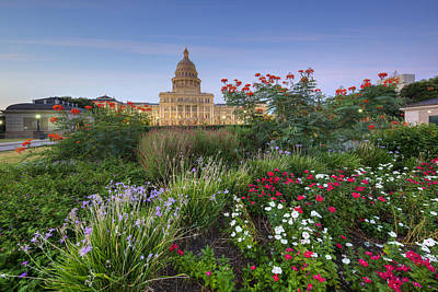 Texas Capitol Austin Fall Flowers 3 Poster