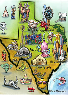 Texas Cartoon Map Poster by Kevin Middleton