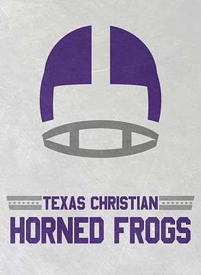 Texas Christian Horned Frogs Vintage Football Art Poster by Joe Hamilton