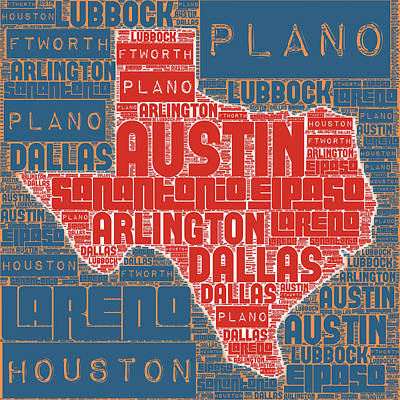 Texas Cities V1 Poster