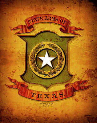 Texas Coat Of Arms  1876 Poster