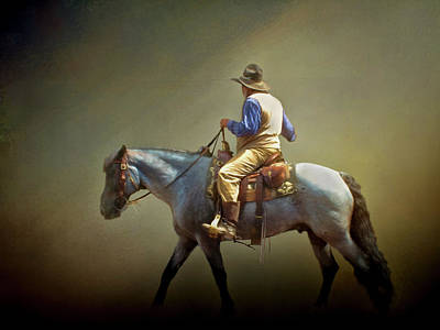 Poster featuring the photograph Texas Cowboy And His Horse by David and Carol Kelly