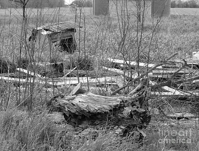 Texas Debris Bw Poster by As the Dinosaur Flies Photography
