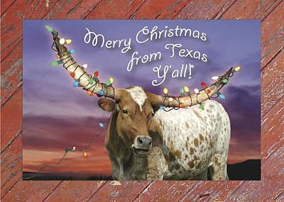 Texas Longhorn Christmas Card Poster by Robert Anschutz