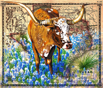 Texas Longhorn In Bluebonnets Poster