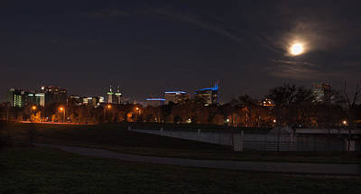 Poster featuring the photograph Texas Medical Center Moonset by Joshua House