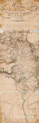 Texas Revolution Santa Anna 1835 Map For The Battle Of San Jacinto  Poster by Peter Gumaer Ogden Collection