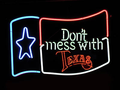 Poster featuring the photograph Texas Flag Saloon Neon by Daniel Hagerman