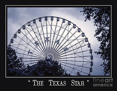 Texas Star In Blue Poster