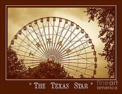Texas Star In Gold Poster