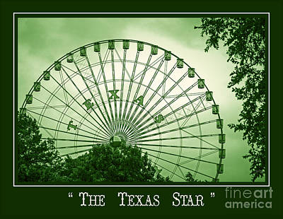 Texas Star In Green Poster