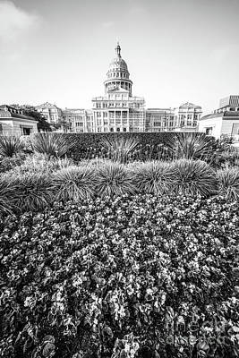 Texas State Capitol Black And White Photo Poster