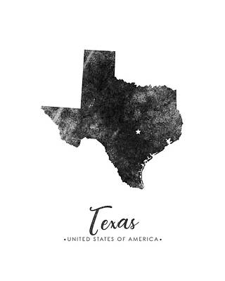 Texas State Map Art - Grunge Silhouette Poster