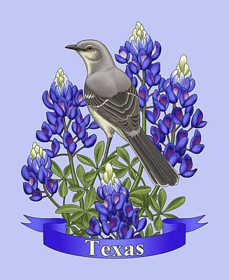 Texas State Mockingbird And Bluebonnet Flower Poster by Crista Forest