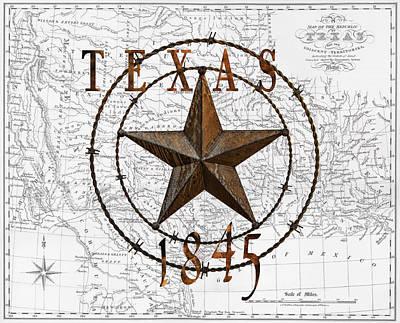Texas Statehood 1845 Poster