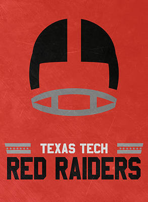 Texas Tech Red Raiders Vintage Football Art Poster