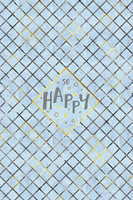 Text Art So Happy - Blue Poster
