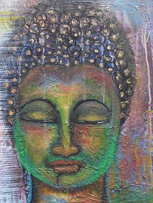 Poster featuring the painting Textured Green Buddha by Prerna Poojara