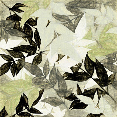 Poster featuring the digital art Textured Leaves Abstract By Kaye Menner by Kaye Menner
