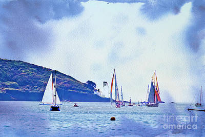 Textured Yachts Poster by Terri Waters