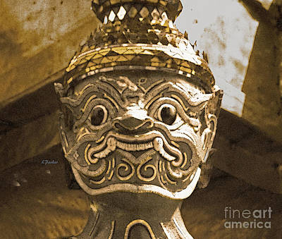Thai Temple Guard Poster by Linda  Parker