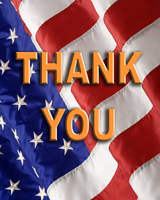 Thank You American Flag Poster by George Robinson