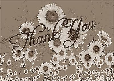 Thank You Card Daisies Poster
