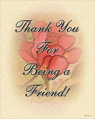 Thank You Friend - Rose 1 Poster by Sticky Friends