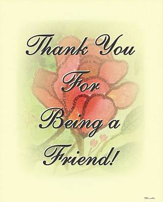 Thank You Friend - Rose 2 Poster by Sticky Friends
