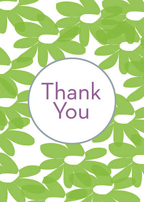Thank You Green Flowers- Art By Linda Woods Poster by Linda Woods