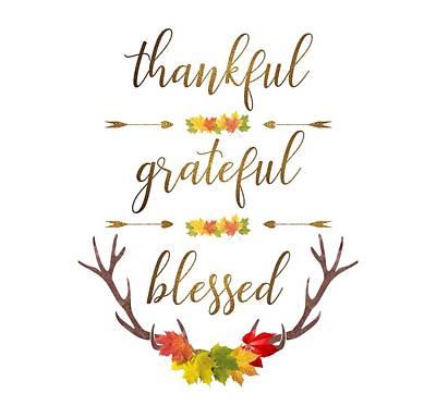 Poster featuring the digital art Thankful Grateful Blessed Fall Leaves Antlers by Georgeta Blanaru