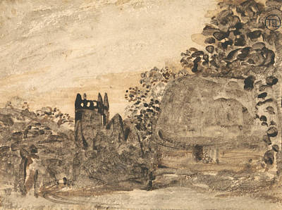 Thatched Cottage And Church Poster