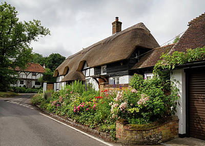 Thatched Cottages In Micheldever Poster