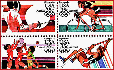The 1984 Summer Olympic Games Stamps 1 Poster by Lanjee Chee