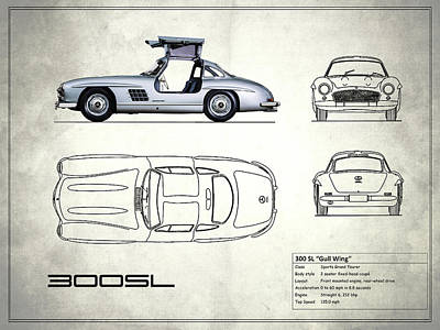 The 300 Sl Gullwing Blueprint - White Poster by Mark Rogan