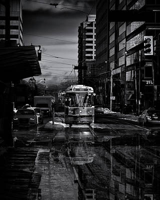 Poster featuring the photograph The 512 St. Clair Streetcar Toronto Canada Reflection by Brian Carson