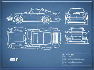 Blueprint posters fine art america the 911 turbo blueprint poster malvernweather Gallery