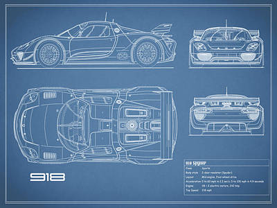 The 918 Spyder Blueprint Poster
