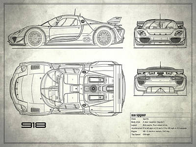 Car blueprint posters page 6 of 25 fine art america the 918 spyder blueprint white poster malvernweather Images