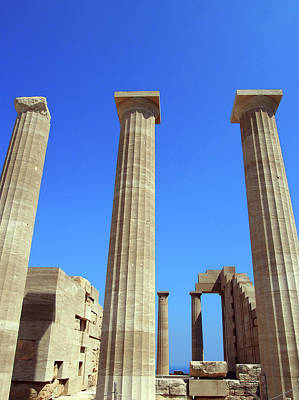 The Acropolis And Lindos In Rhodes With Columns And Ruins Poster by Philip Openshaw