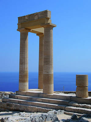The Acropolis In Lindos Rhodes With Blue Sky And Sea In Summer  Poster by Philip Openshaw